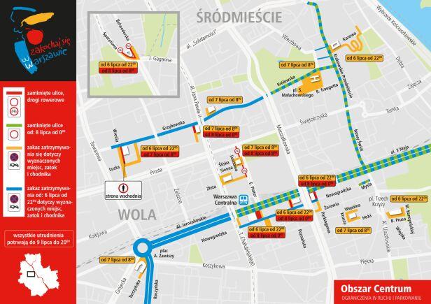 Mapa utrudnień w Centrum UM Warszawa