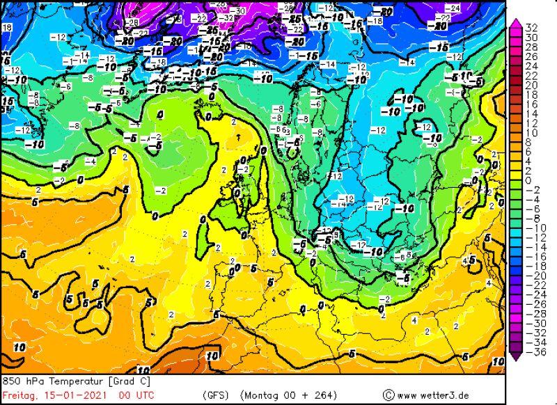 Prognozowana temperatura w piątek 15 stycznia według modelu GFS/wetter3.de